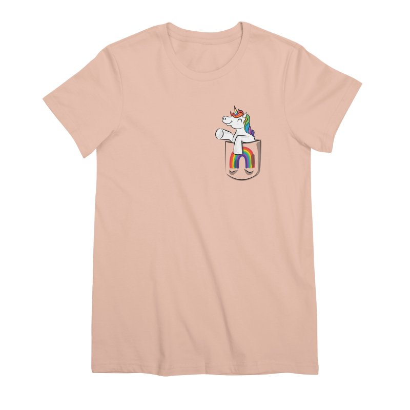 Pocket Unicorn Women's Premium T-Shirt by Dean Cole Design