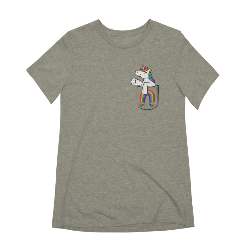 Pocket Unicorn Women's Extra Soft T-Shirt by Dean Cole Design
