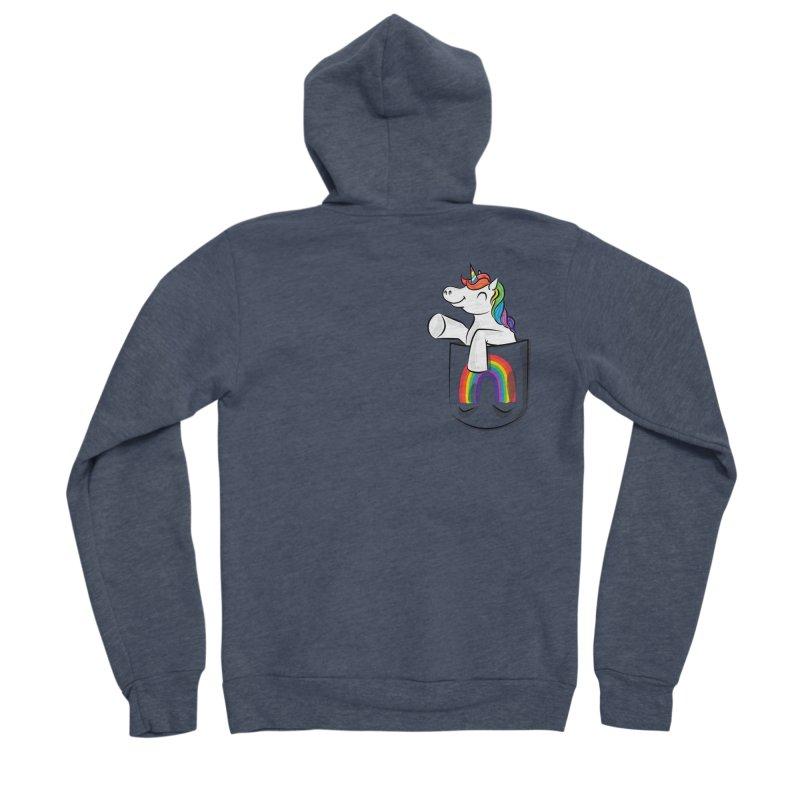 Pocket Unicorn Men's Zip-Up Hoody by Dean Cole Design