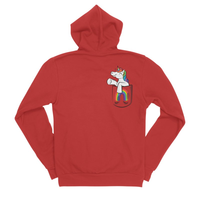 Pocket Unicorn Women's Sponge Fleece Zip-Up Hoody by Dean Cole Design