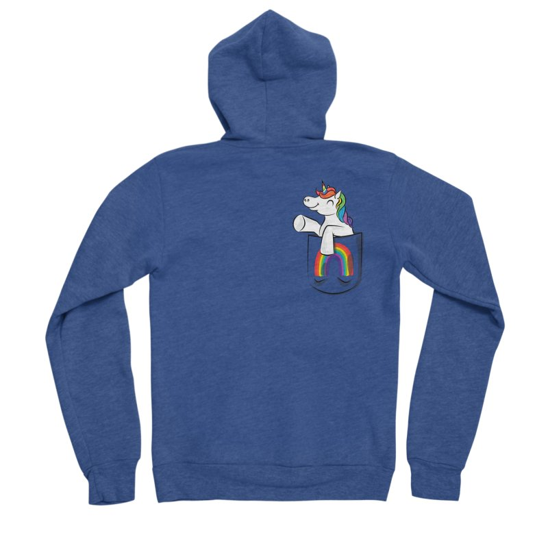 Pocket Unicorn Men's Sponge Fleece Zip-Up Hoody by Dean Cole Design