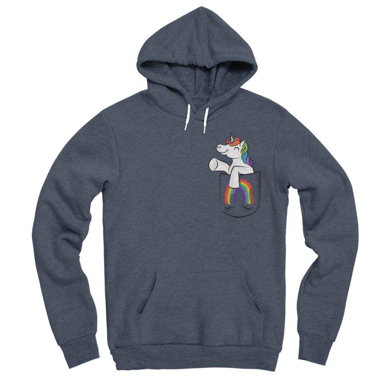 Pocket Unicorn Men's Sponge Fleece Pullover Hoody by Dean Cole Design