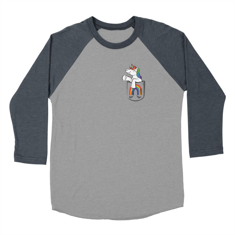 Pocket Unicorn Women's Baseball Triblend Longsleeve T-Shirt by Dean Cole Design
