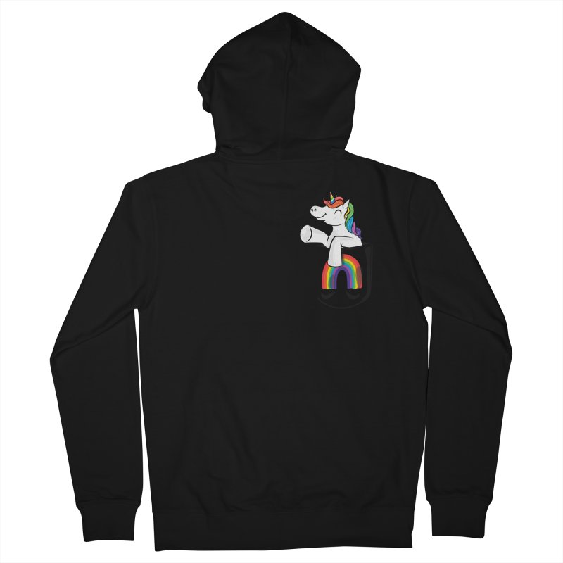 Pocket Unicorn Women's French Terry Zip-Up Hoody by Dean Cole Design