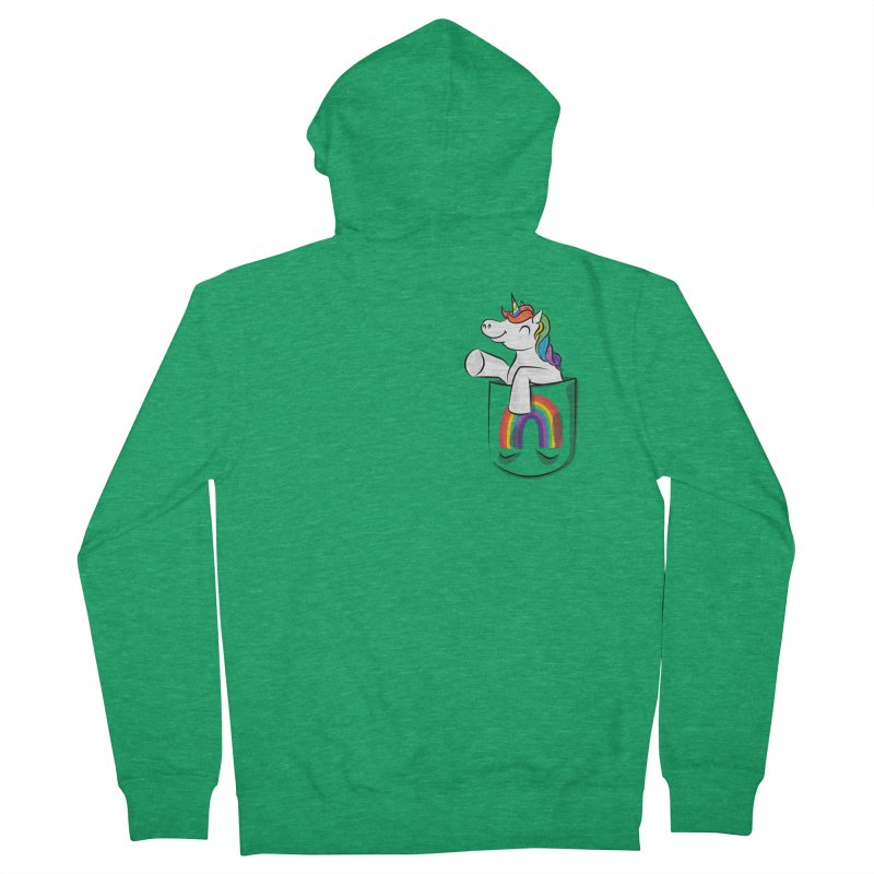 Pocket Unicorn Men's Zip-Up Hoody by Dean Cole Design