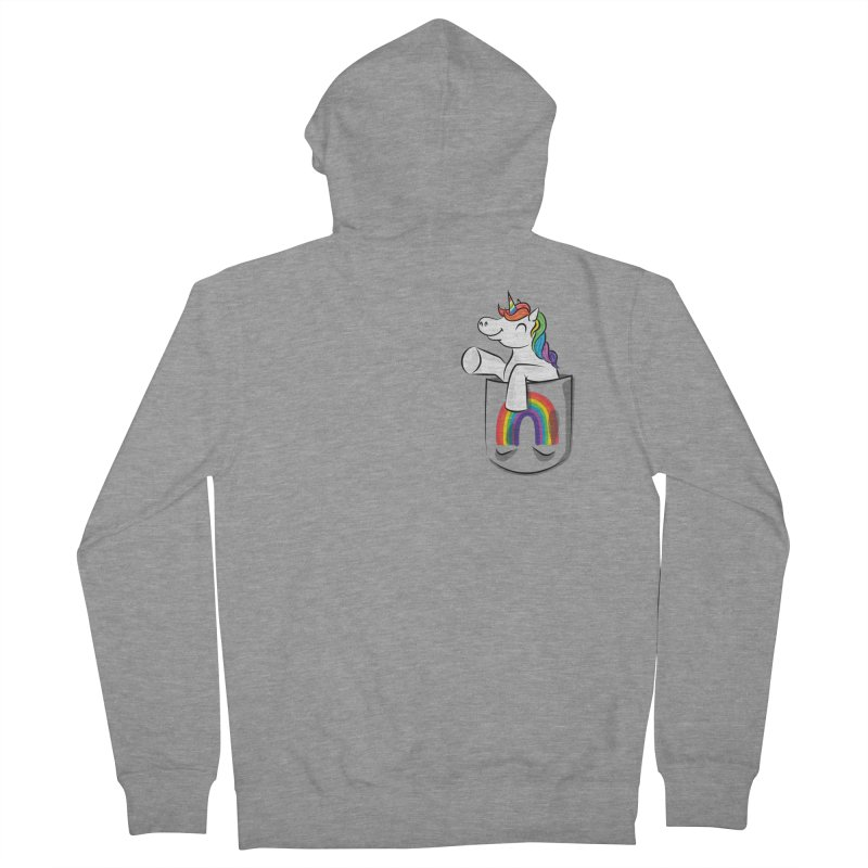 Pocket Unicorn Men's French Terry Zip-Up Hoody by Dean Cole Design