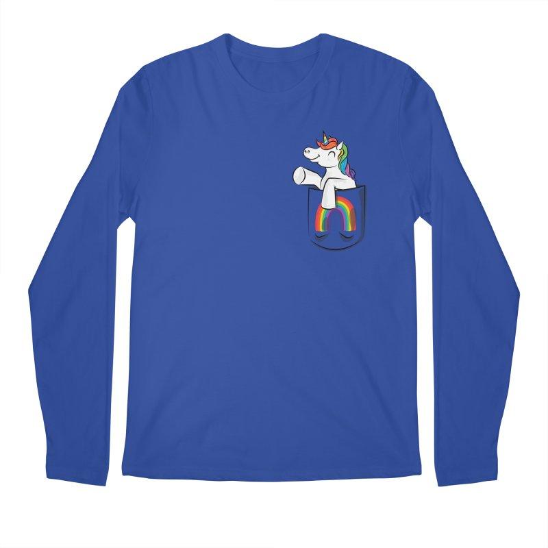 Pocket Unicorn Men's Regular Longsleeve T-Shirt by Dean Cole Design