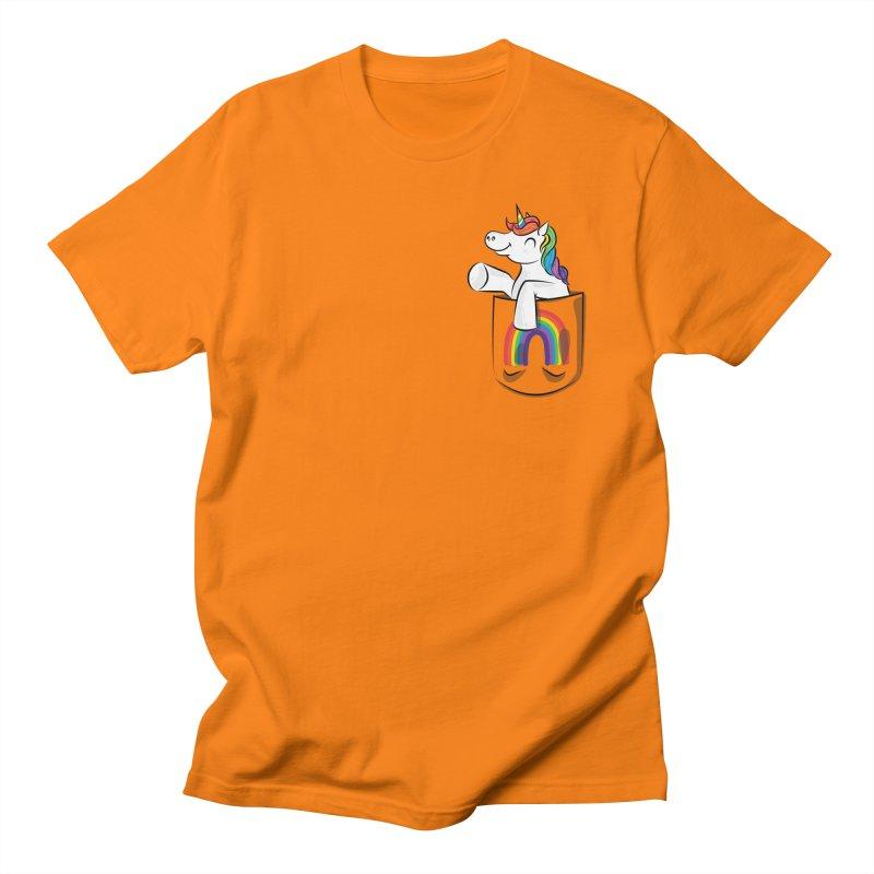 Pocket Unicorn Men's Regular T-Shirt by Dean Cole Design