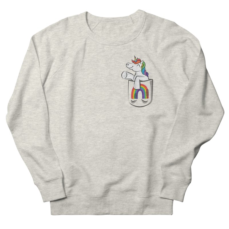 Pocket Unicorn Men's French Terry Sweatshirt by Dean Cole Design