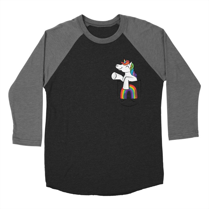 Pocket Unicorn Men's Baseball Triblend Longsleeve T-Shirt by Dean Cole Design