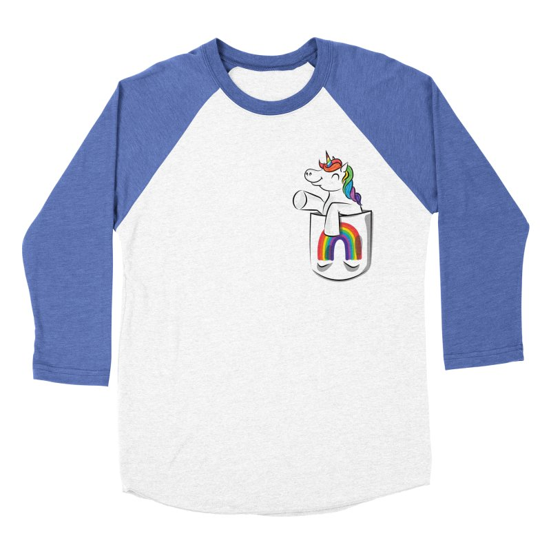 Pocket Unicorn Men's Baseball Triblend Longsleeve T-Shirt by Dean Cole Design