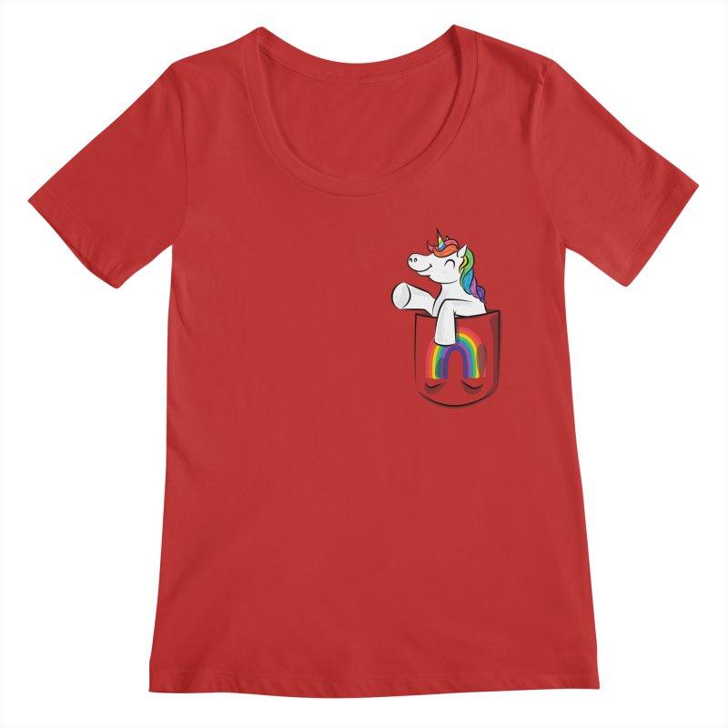 Pocket Unicorn Women's Regular Scoop Neck by Dean Cole Design