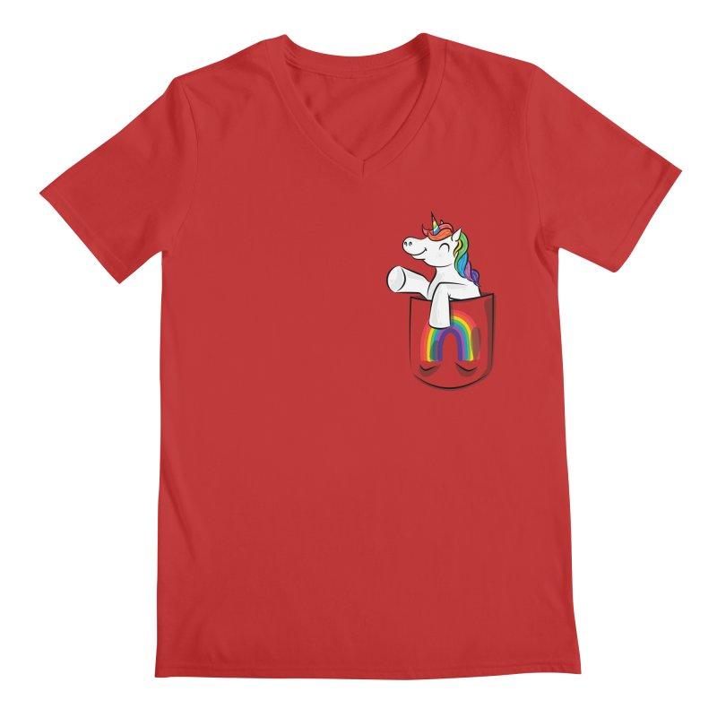 Pocket Unicorn Men's Regular V-Neck by Dean Cole Design