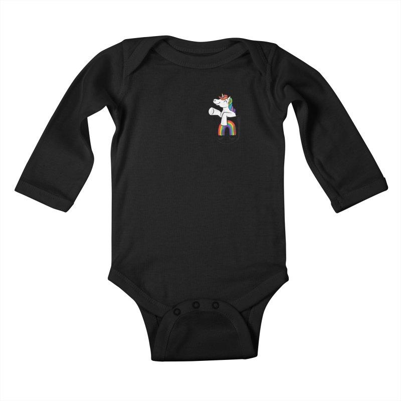 Pocket Unicorn Kids Baby Longsleeve Bodysuit by Dean Cole Design