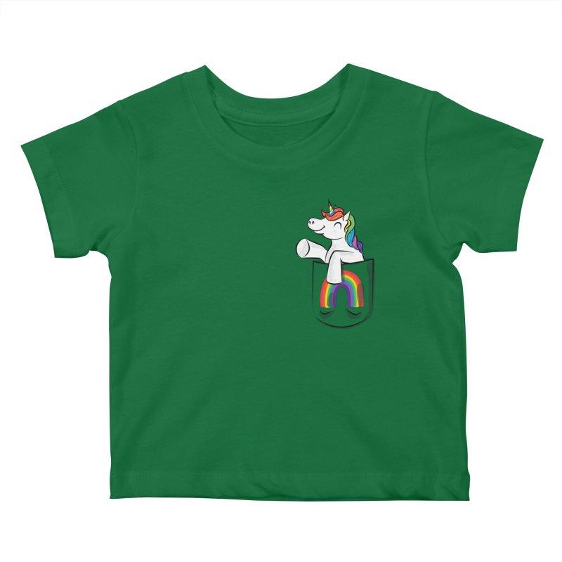 Pocket Unicorn Kids Baby T-Shirt by Dean Cole Design