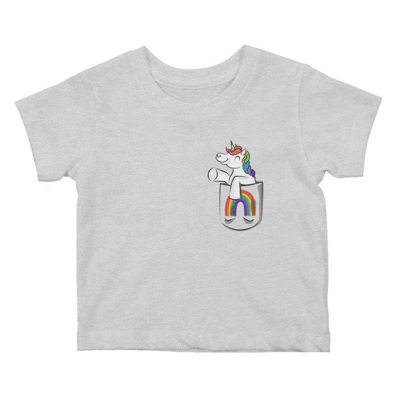 Pocket Unicorn Kids Baby T-Shirt by Dean Cole Design