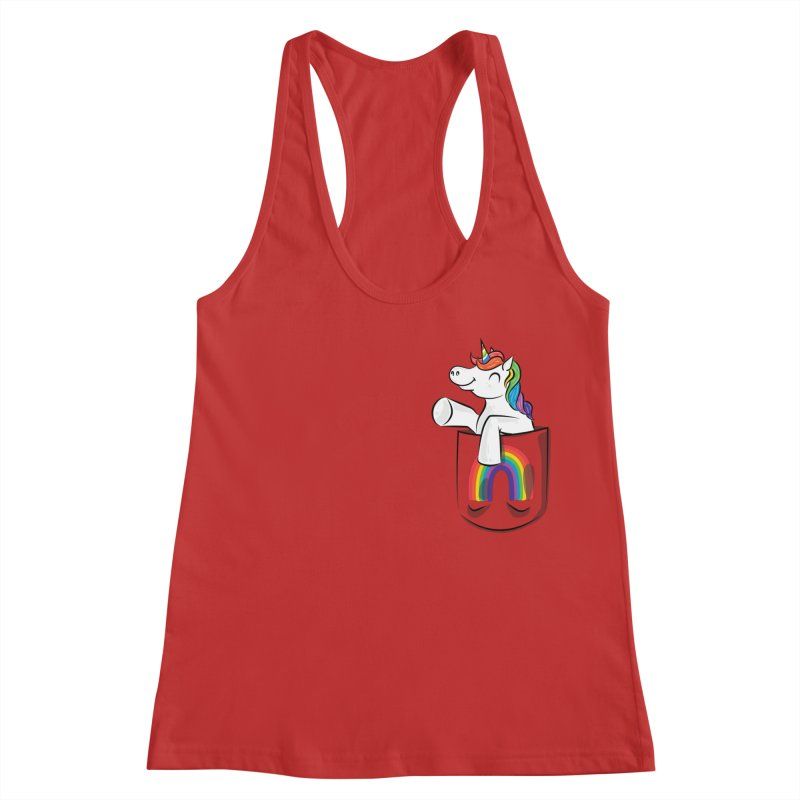 Pocket Unicorn Women's Racerback Tank by Dean Cole Design