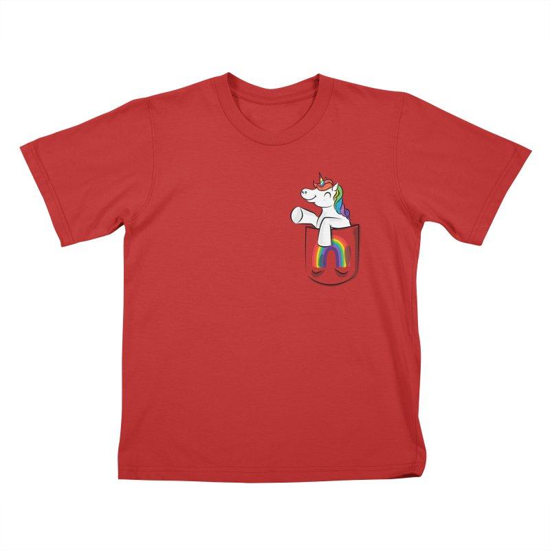 Pocket Unicorn Kids T-Shirt by Dean Cole Design