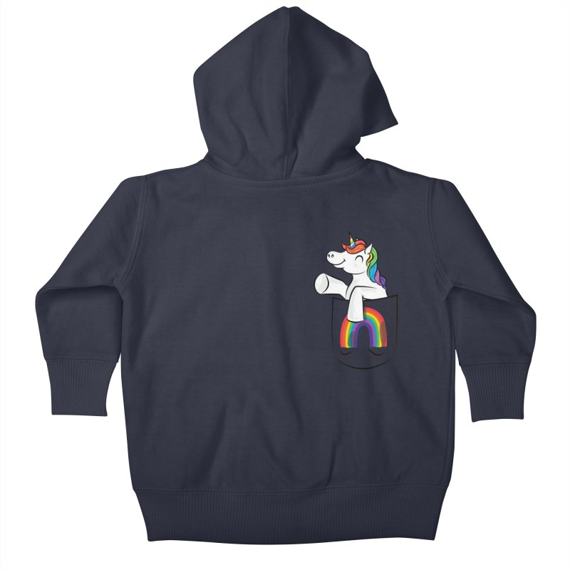 Pocket Unicorn Kids Baby Zip-Up Hoody by Dean Cole Design
