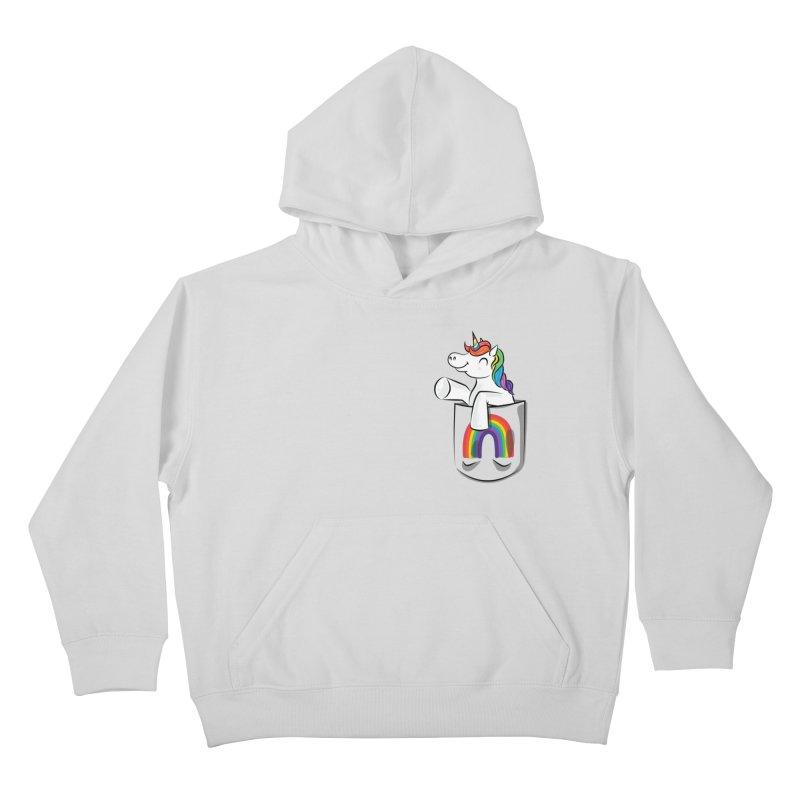 Pocket Unicorn Kids Pullover Hoody by Dean Cole Design
