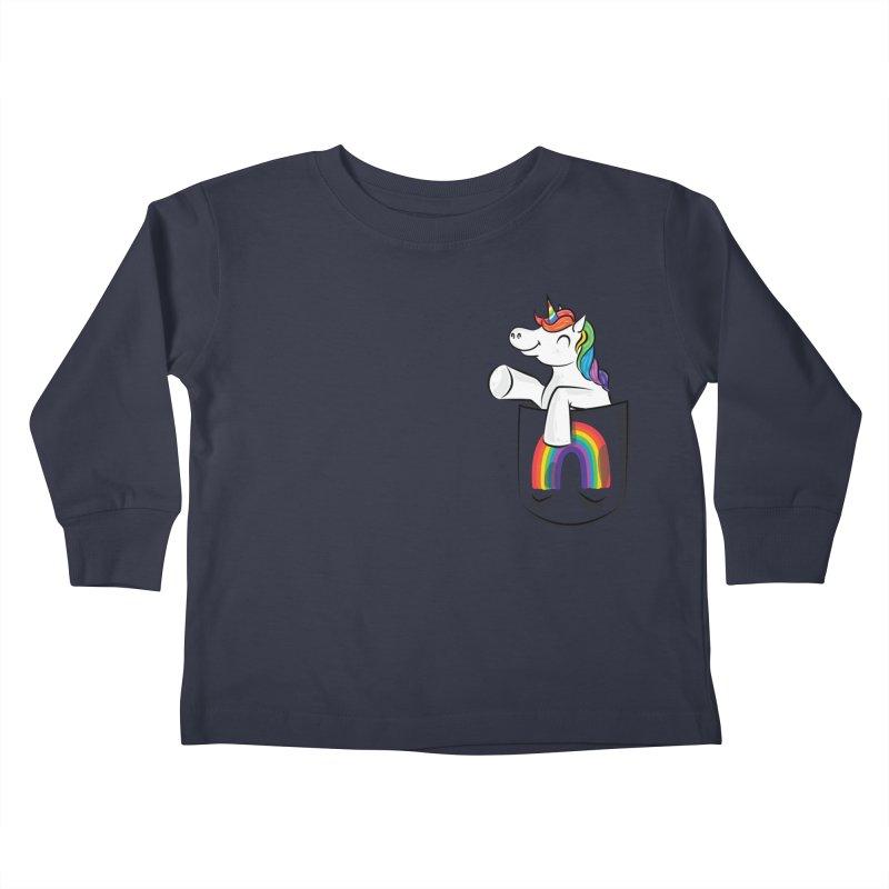 Pocket Unicorn Kids Toddler Longsleeve T-Shirt by Dean Cole Design