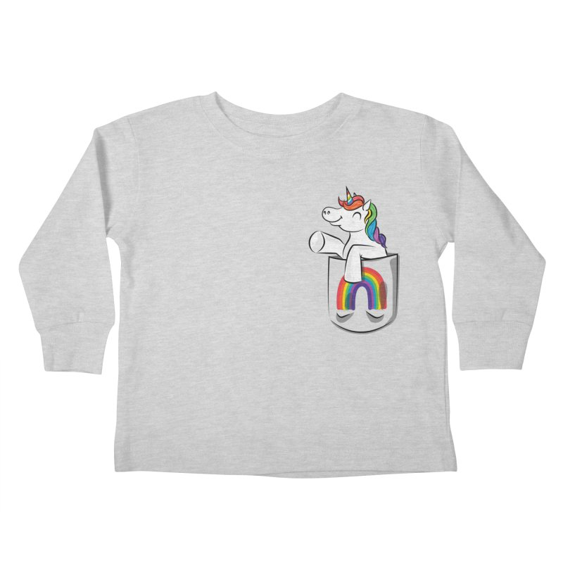 Pocket Unicorn Kids Toddler Longsleeve T-Shirt by Dean Cole Design