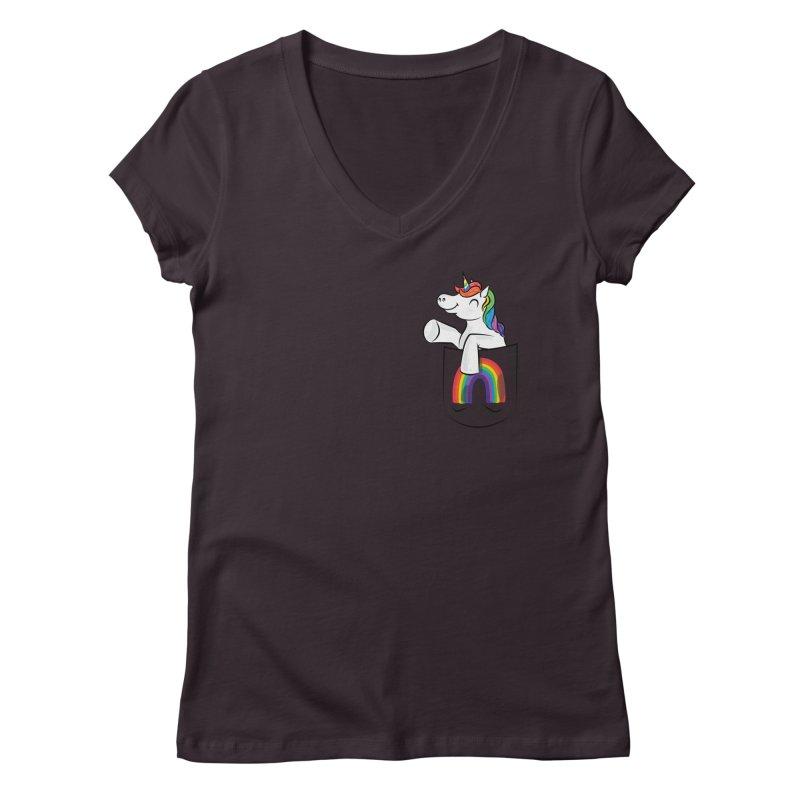Pocket Unicorn Women's Regular V-Neck by Dean Cole Design