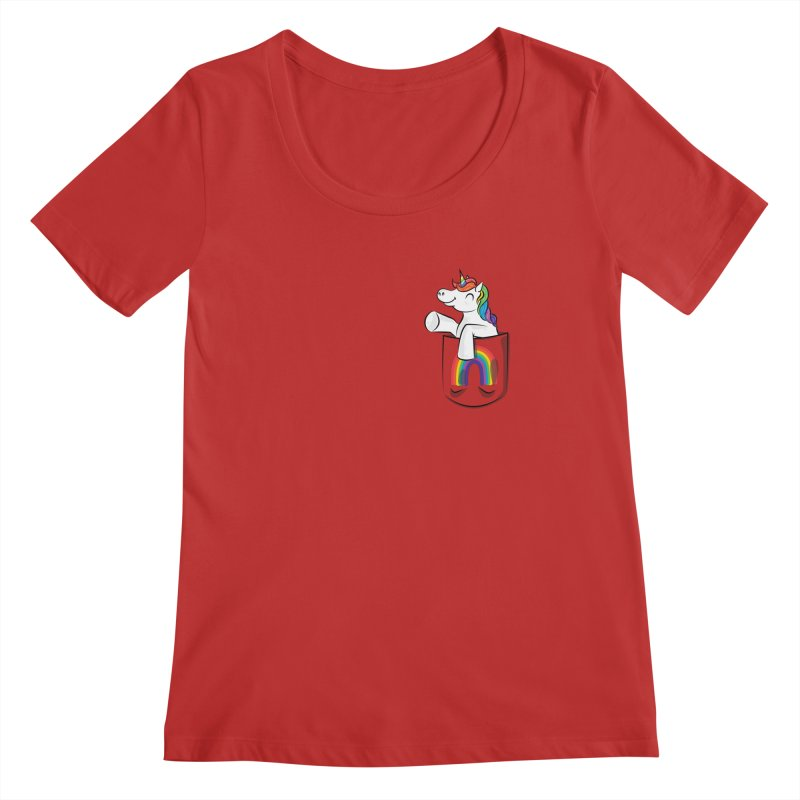Pocket Unicorn Women's Regular Scoop Neck by Dean Cole Design