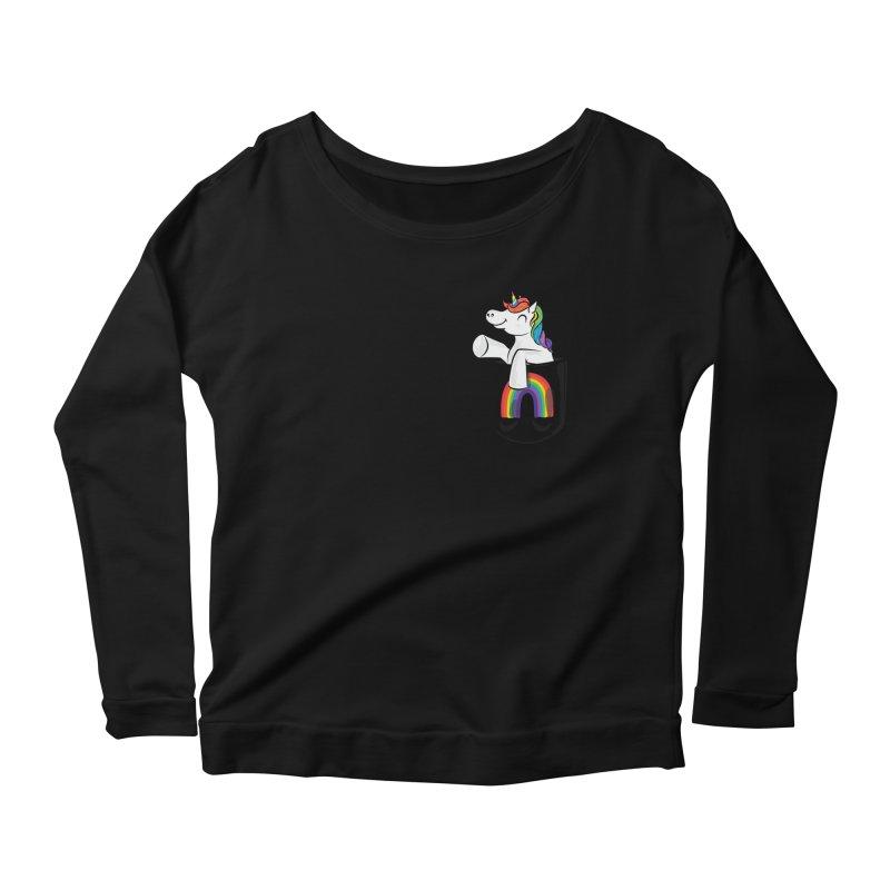 Pocket Unicorn Women's Scoop Neck Longsleeve T-Shirt by Dean Cole Design