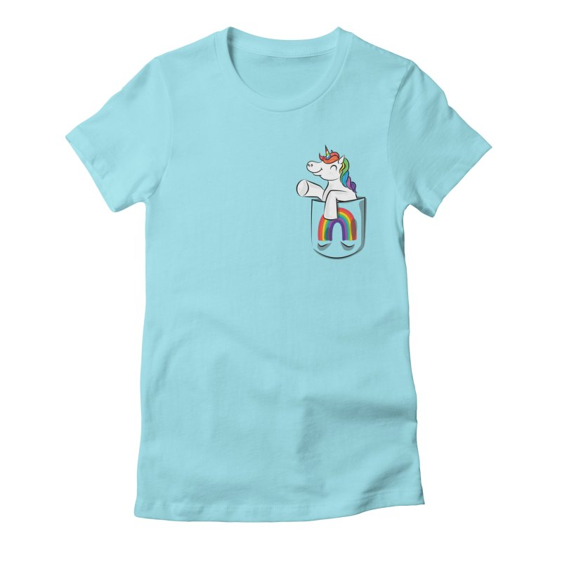 Pocket Unicorn Women's Fitted T-Shirt by Dean Cole Design