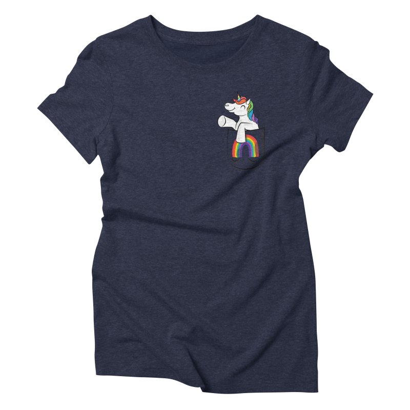 Pocket Unicorn Women's Triblend T-Shirt by Dean Cole Design