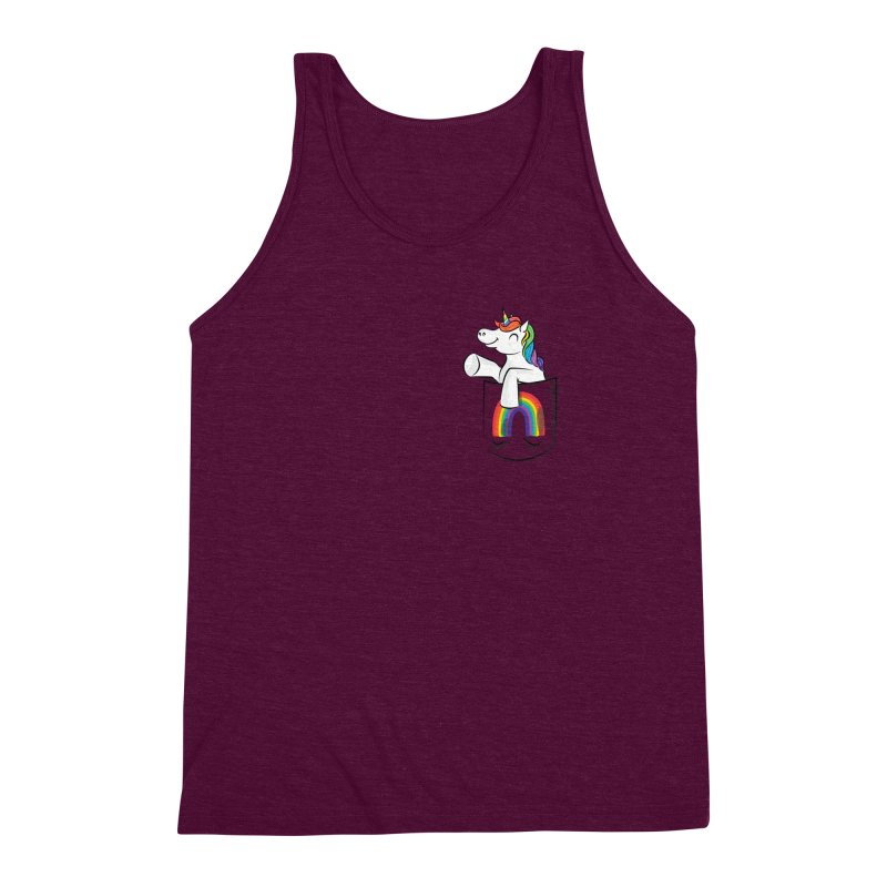 Pocket Unicorn Men's Triblend Tank by Dean Cole Design