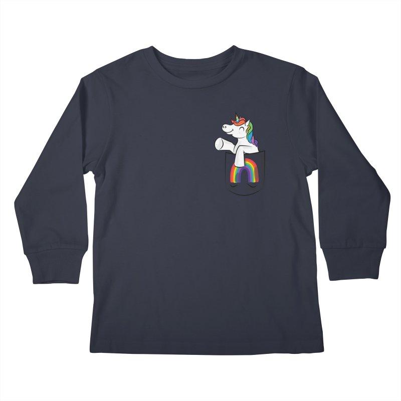 Pocket Unicorn Kids Longsleeve T-Shirt by Dean Cole Design