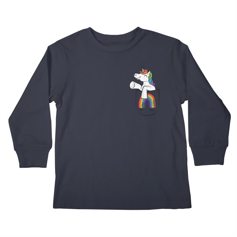 Pocket Unicorn Kids Longsleeve T-Shirt by Dean Cole Design