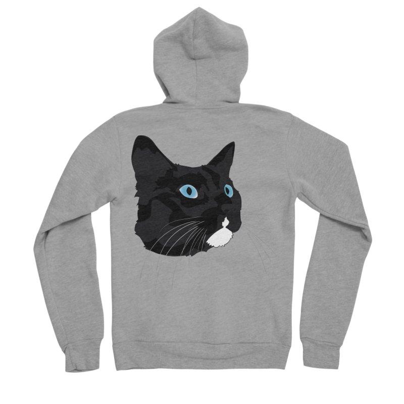 Black Cat Men's Sponge Fleece Zip-Up Hoody by Dean Cole Design