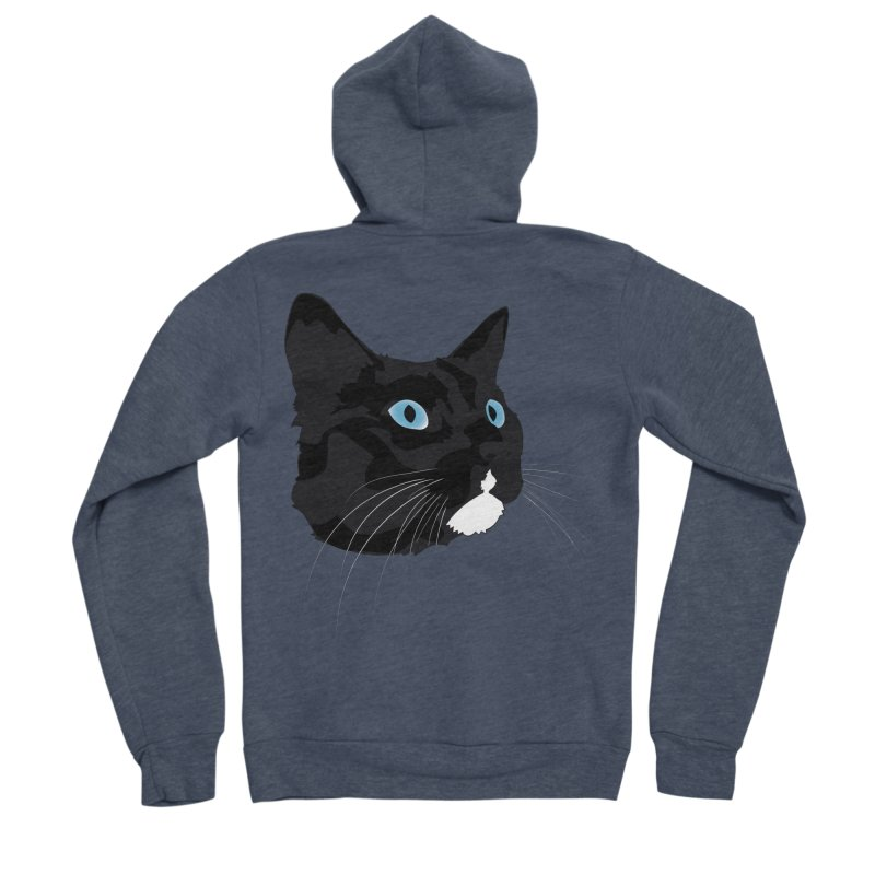 Black Cat Men's Sponge Fleece Zip-Up Hoody by Dean Cole Design