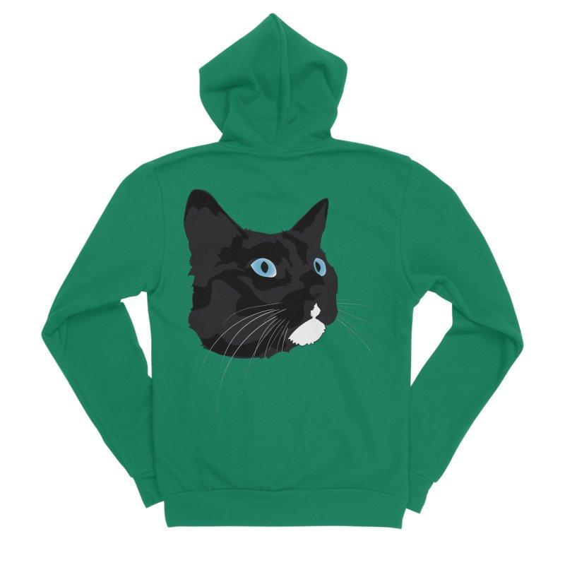 Black Cat Women's Sponge Fleece Zip-Up Hoody by Dean Cole Design