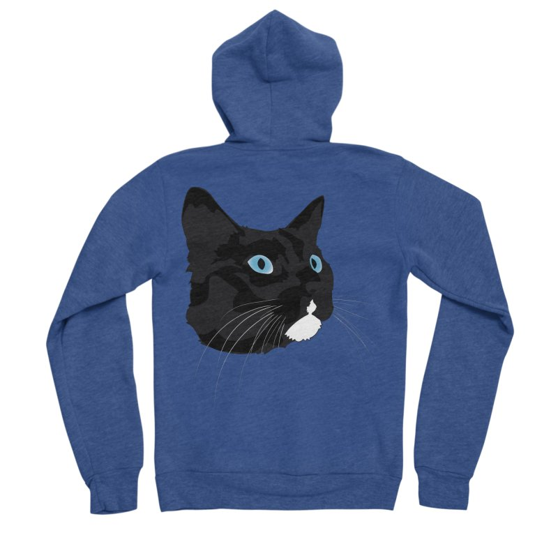 Black Cat Men's Zip-Up Hoody by Dean Cole Design
