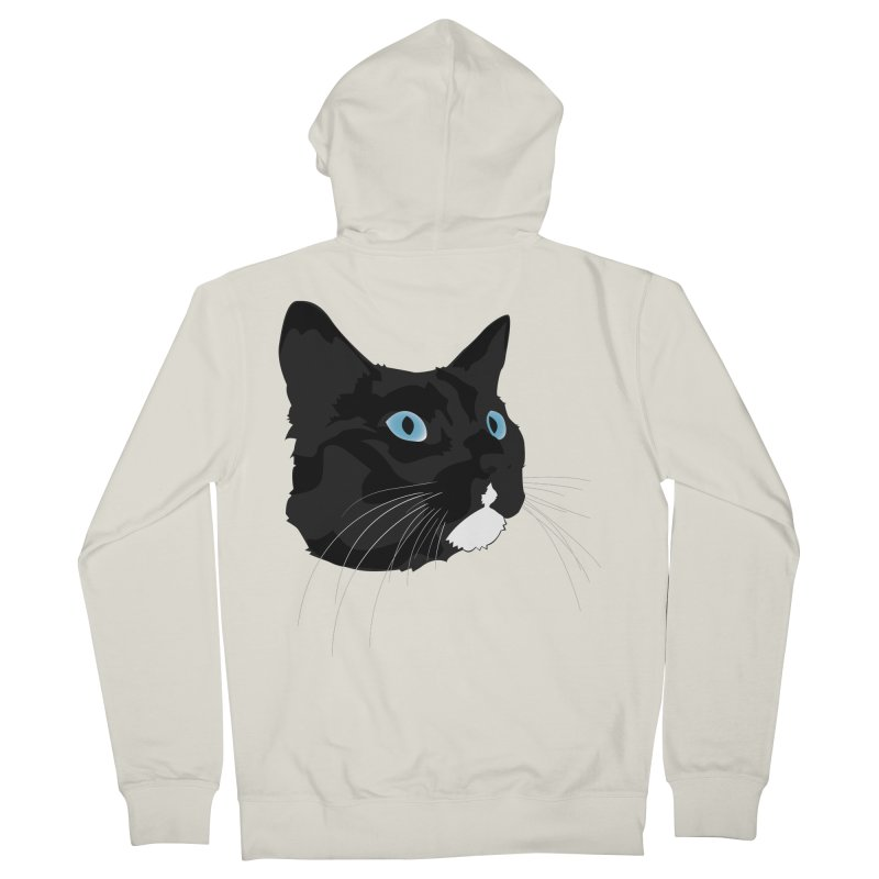 Black Cat Men's French Terry Zip-Up Hoody by Dean Cole Design