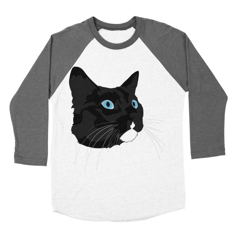 Black Cat Women's Baseball Triblend Longsleeve T-Shirt by Dean Cole Design