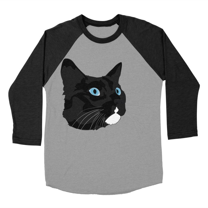 Black Cat Women's Baseball Triblend Longsleeve T-Shirt by Dean Cole Design