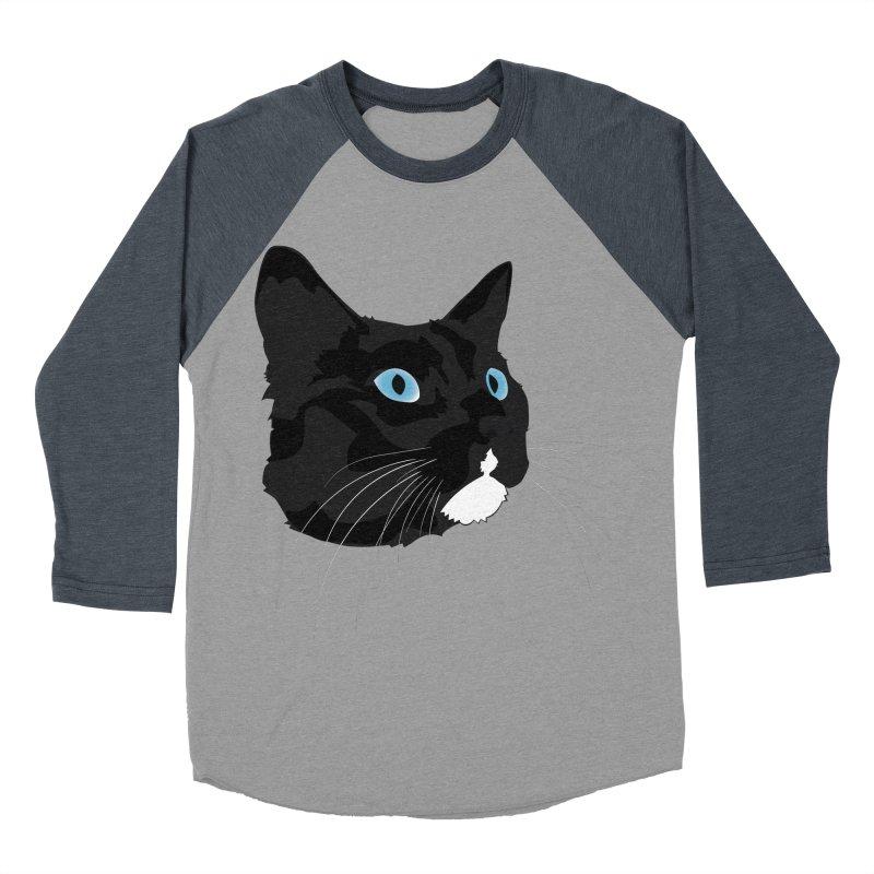 Black Cat Men's Baseball Triblend Longsleeve T-Shirt by Dean Cole Design