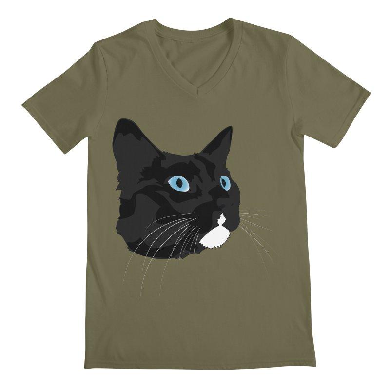Black Cat Men's Regular V-Neck by Dean Cole Design