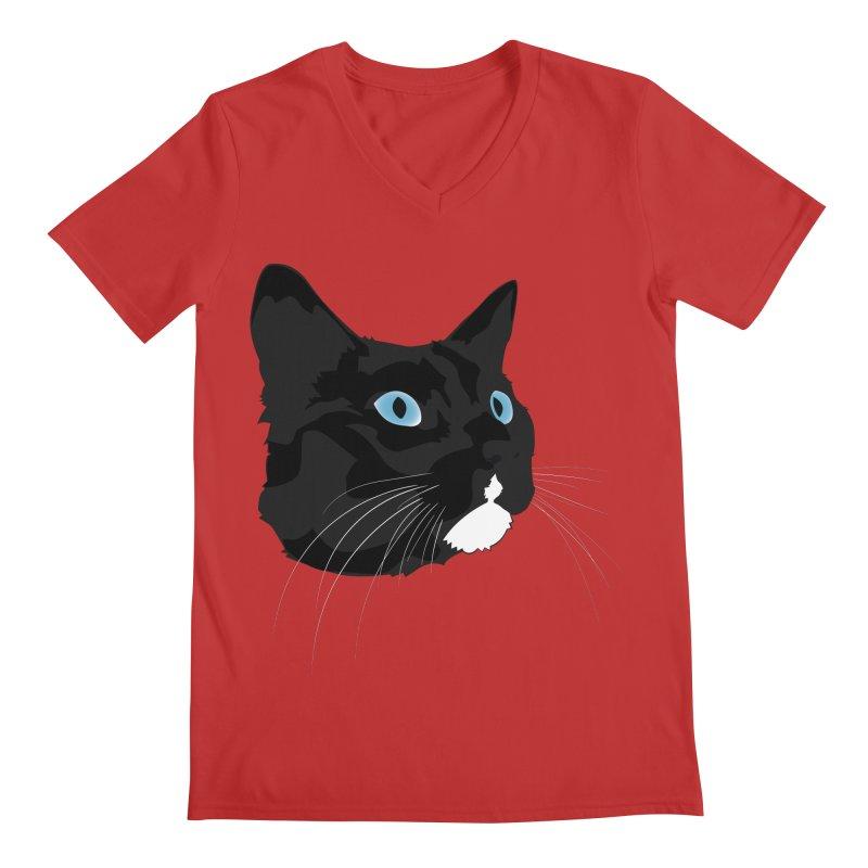 Black Cat Men's V-Neck by Dean Cole Design