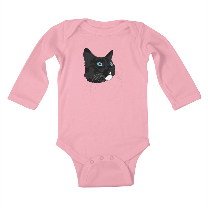 Black Cat Kids Baby Longsleeve Bodysuit by Dean Cole Design