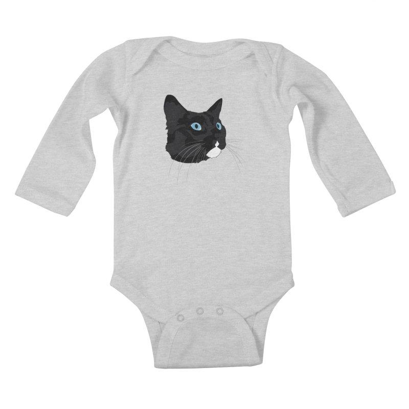 Black Cat Kids Baby Longsleeve Bodysuit by Dean Cole Design