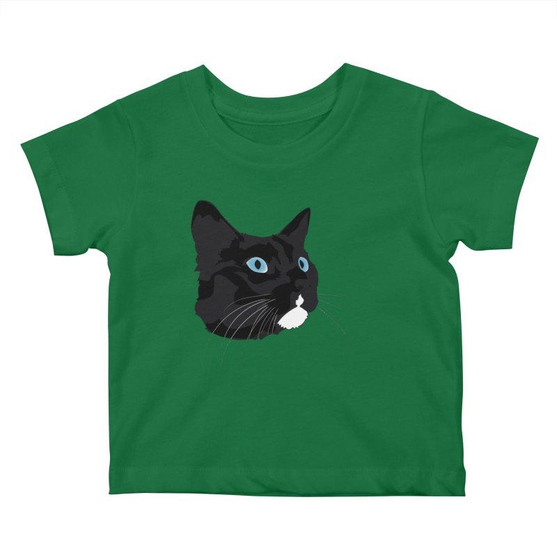 Black Cat Kids Baby T-Shirt by Dean Cole Design