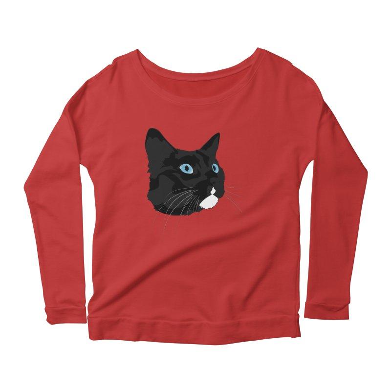 Black Cat Women's Scoop Neck Longsleeve T-Shirt by Dean Cole Design