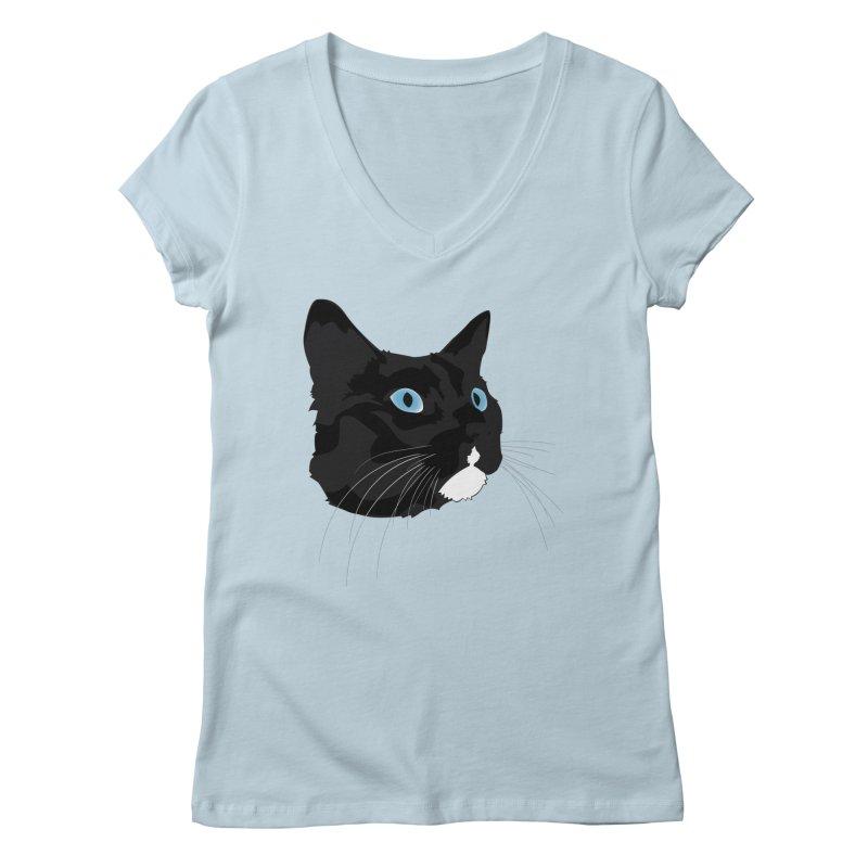 Black Cat Women's Regular V-Neck by Dean Cole Design