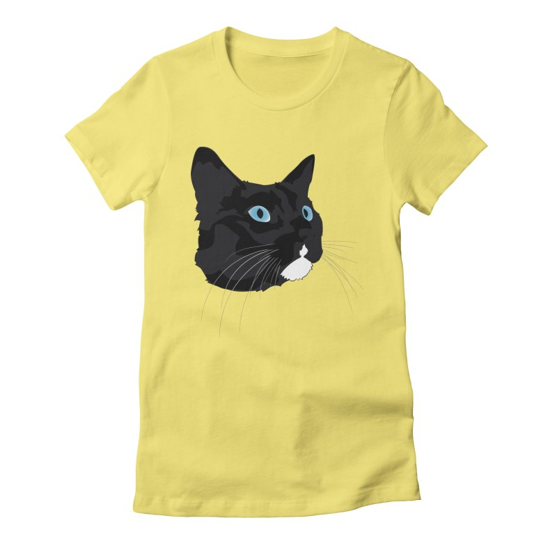 Black Cat Women's Fitted T-Shirt by Dean Cole Design